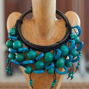 NWOT Handmade Wood Bead Ethnic Statement Necklace
